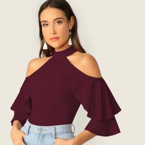 SHEIN Cold Shoulder Layered Sleeve Top
